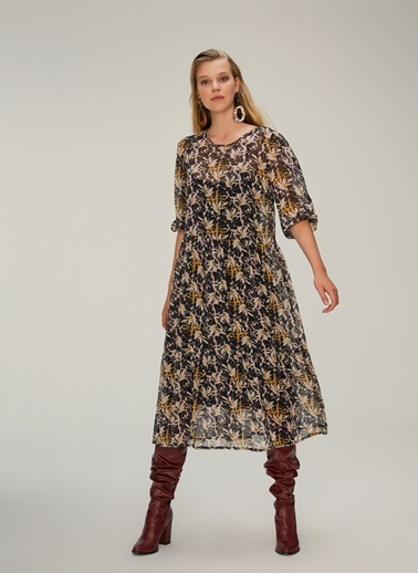 NGSTYLE Çok Katlı Midi Elbise Lacivert